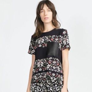Zara Striped Floral Top with Faux Leather Pocket